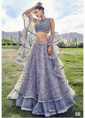 Charming Grey Color Fancy Fabric Designer Lehenga Choli