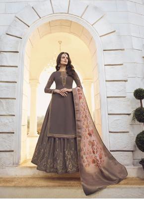 Charming Mauve  Resham Designer Palazzo Suit