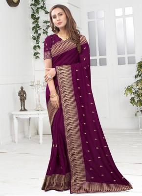 Charming Silk Wine Designer Saree