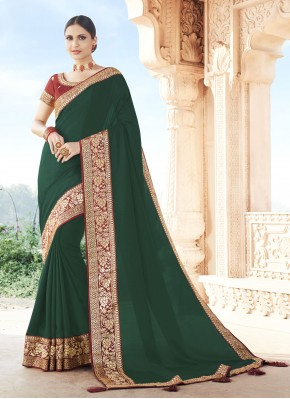 Cherubic Green Patch Border Traditional Designer Saree