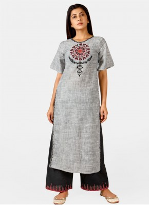 Cherubic Khadi Embroidered Grey Party Wear Kurti