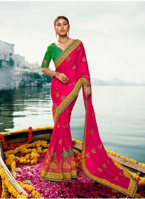 Cherubic Silk Hot Pink Embroidered Classic Designer Saree