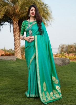 Chic Banarasi Silk Print Sea Green Traditional Designer Saree
