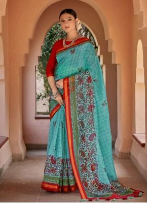 Chic Blue Cotton Printed Saree
