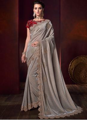 Chic Fancy Fabric Beige Classic Designer Saree
