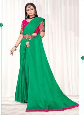 Chic Green Faux Chiffon Classic Saree