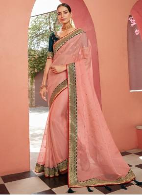 Chic Pink Patch Border Classic Designer Saree