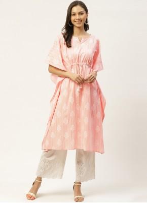 Chic Pink Print Party Wear Kurti