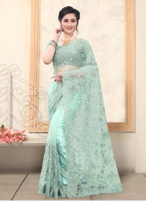 Chic Sea Green Trendy Saree