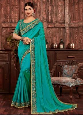 Chic Turquoise Poly Silk Designer Traditional Saree