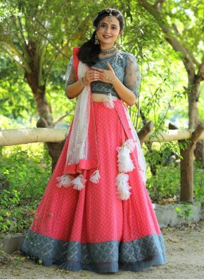 Chiffon Embroidered Grey, Pink and White Bollywood