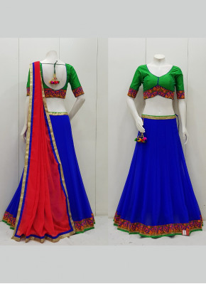 Chiffon Kutchhi Work Border Garba Wear Chaniya Choli