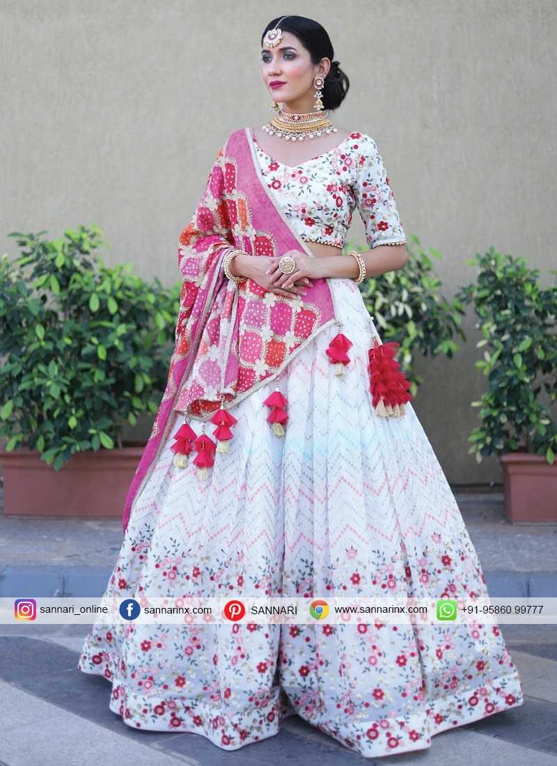 Chiffon Multi Pink and White Readymade Lehenga Choli