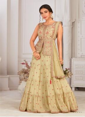 Chiffon Ready Made Long Choli Suit for Mehndi