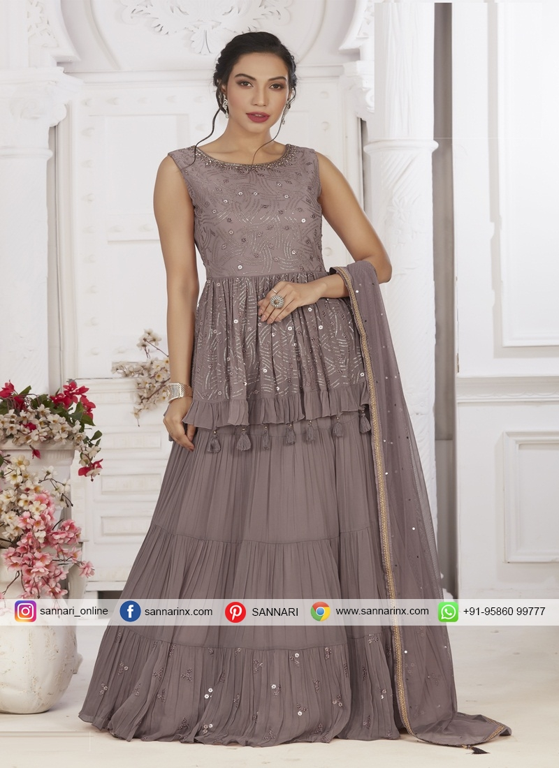 Chiffon Ready Made Long Choli Suit for Party