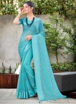 Chiffon Satin Blue Stone Work Traditional Designer Saree