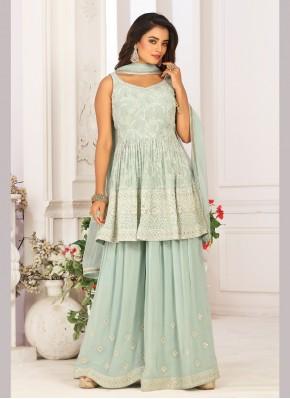 Chiffon Satin Designer Ready made Palazzo Dress for Engagement