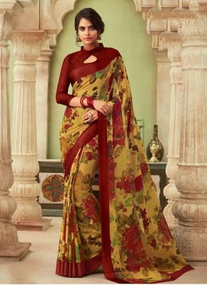 Chiffon Satin Multi Colour Printed Saree