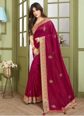 Chitrangada Singh Fancy Fabric Patch Border Magenta Traditional Designer Saree