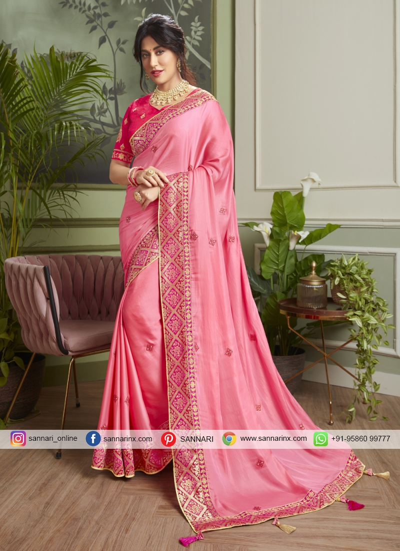 Chitrangada Singh Fancy Fabric Patch Border Pink Classic Designer Saree