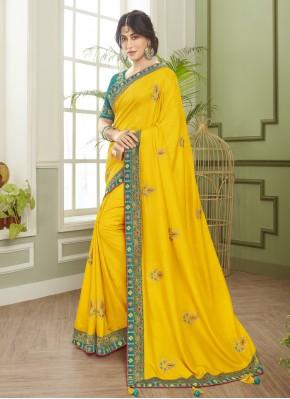 Chitrangada Singh Resham Yellow Classic Designer Saree