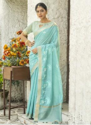 Classic Designer Saree Embroidered Cotton in Blue