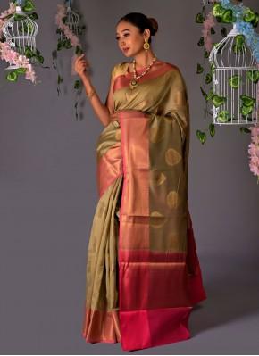 Classic Designer Saree Fancy Chanderi Cotton in Beige