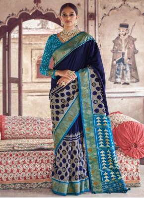 Classic Designer Saree Fancy Patola Silk  in Blue