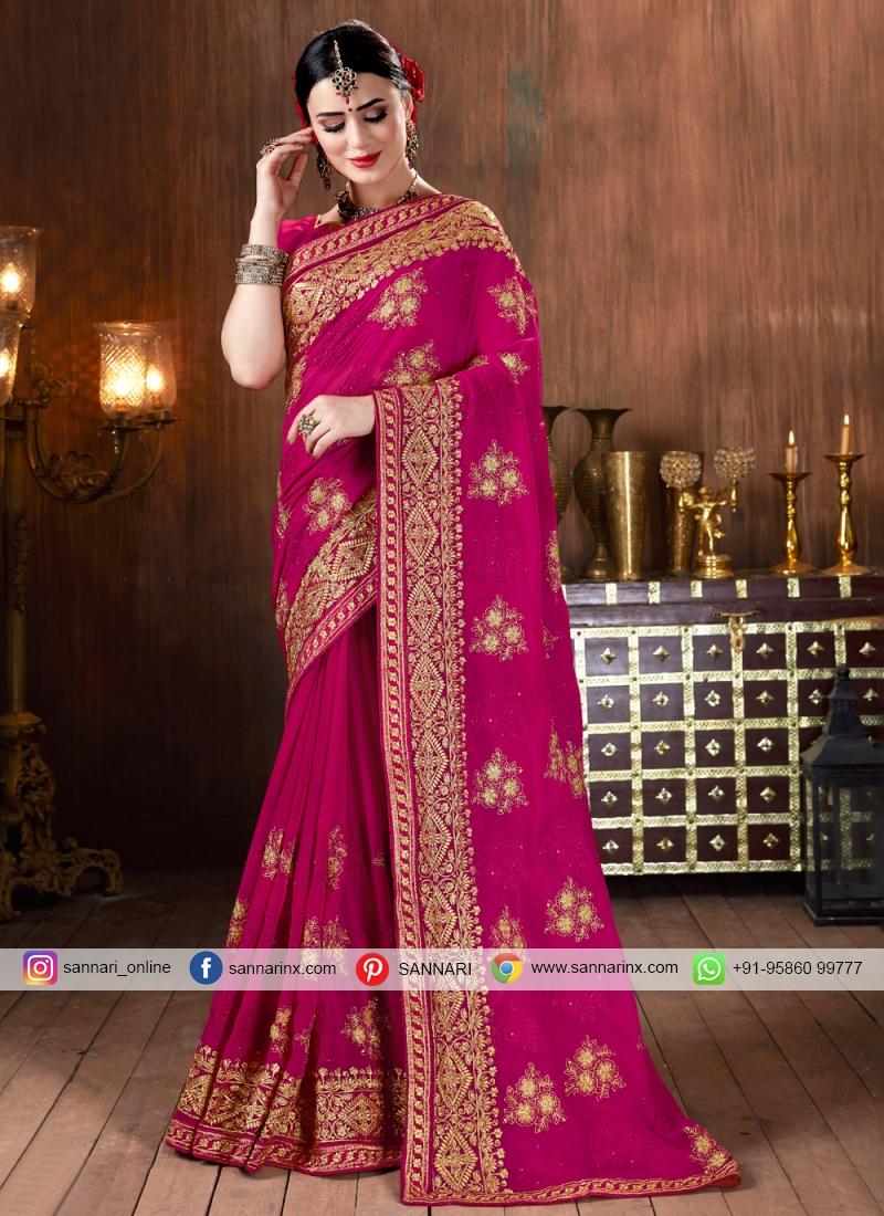 Designer Magenta Heavy Embroidery Border Bollywood Sari Silk Wedding Wear Saree