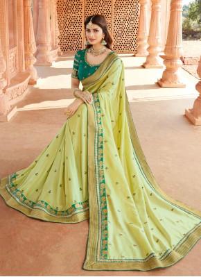 Classic Designer Saree Patch Border Silk in Green