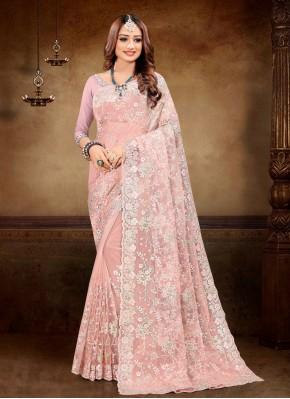 Classic Designer Saree Resham Net in Peach