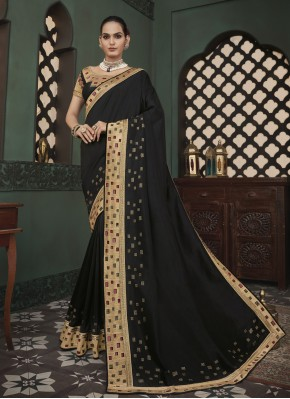 Classic Saree Embroidered Fancy Fabric in Black