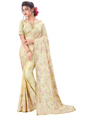 Classic Saree Embroidered Faux Chiffon in Beige