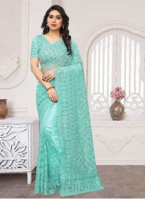 Classic Saree Embroidered Net in Turquoise