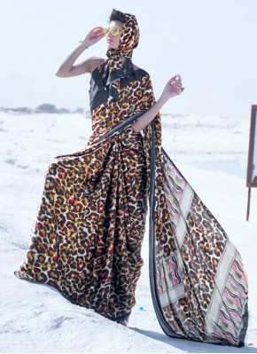 Classic Saree Printed Crepe Silk in Multi Colour