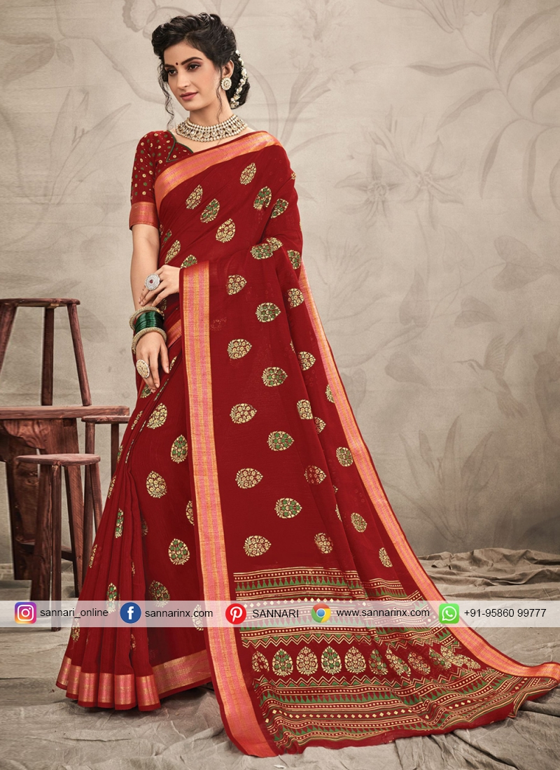 Classic Saree Resham Chanderi in Red