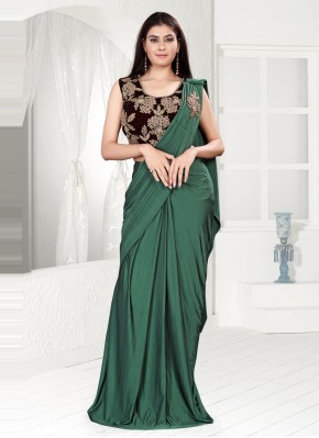Classic Saree Sequins Lycra in Green