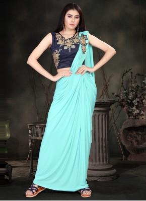 Classic Saree Sequins Lycra in Turquoise