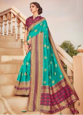 Classic Saree Weaving Banarasi Silk in Aqua Blue