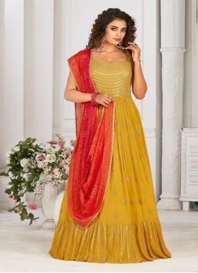 Classical Designer Gown Jari Work in Georgette Satin