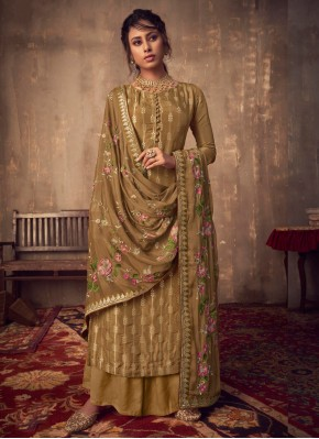 Classical Embroidered Brown Viscose Salwar Suit