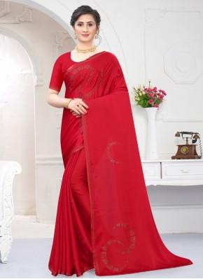 Classical Satin Red Trendy Saree