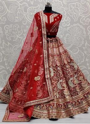 Classical Sequins Red Lehenga Choli
