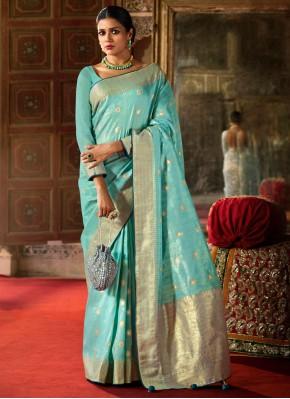 Classical Silk Aqua Blue Traditional Saree