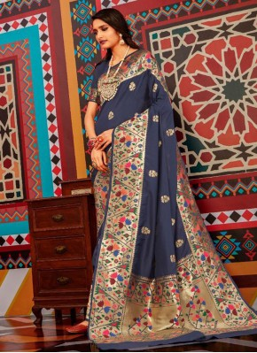 Classical Weaving Navy Blue Bollywood Saree