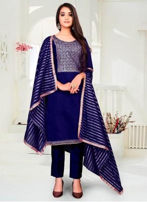 Classy Chanderi Blue Fancy Pant Style Suit