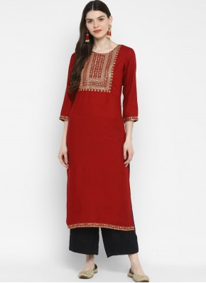 Classy Cotton Maroon Sequins Party Wear Kurti
