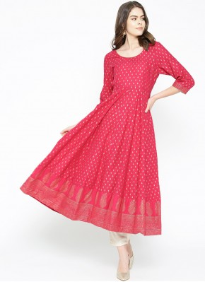 Classy Cotton Print Hot Pink Designer Kurti