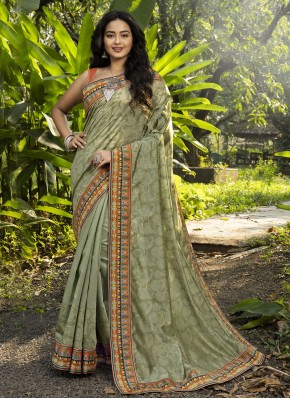 Classy Digital Print Chanderi Green Classic Designer Saree