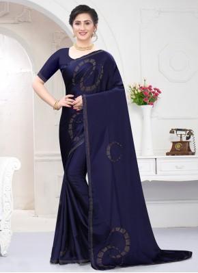 Classy Navy Blue Stone Work Satin Classic Designer Saree